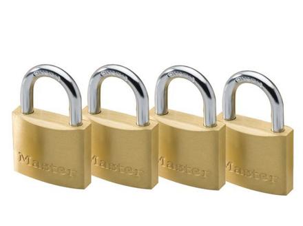 Master Lock 40MM Hrad Steel Shackle, 4 Pieces Key-Alike Brass Padlock, MSP1902Q의 그림