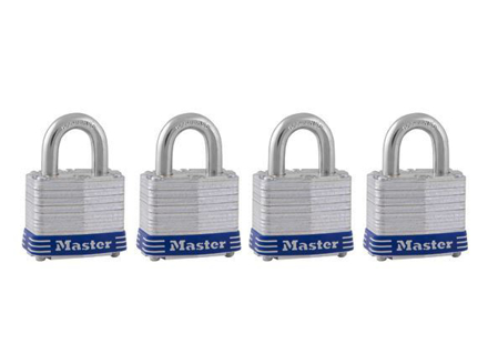 Master Lock 40MM 19MM Shackle, 4 Pieces Key-Alike Laminated Steel Padlock, MSP3008D의 그림
