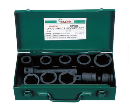 Hans 10 Pcs. Impact Socket Set - MODEL NO. 86610AA - Inches Size の画像