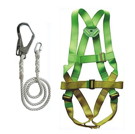 Adela H-5038 Full Body Harness Set with Lanyard Big Hook (Green/Yellow)의 그림