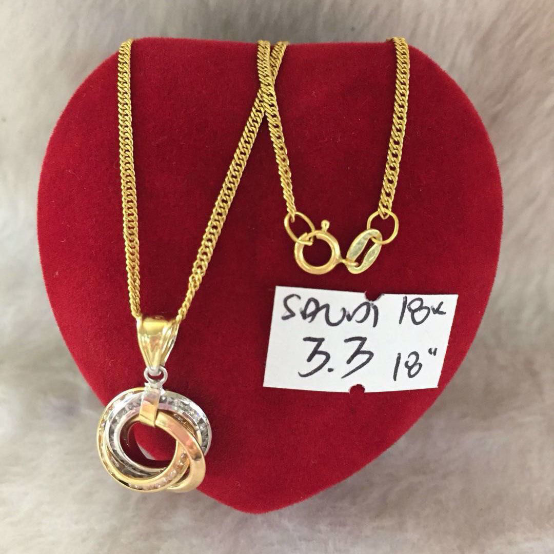 18K - Saudi Gold Jewelry, Necklace w/.. Pendant (3Ring  Shape) 18K - 3.3g의 그림