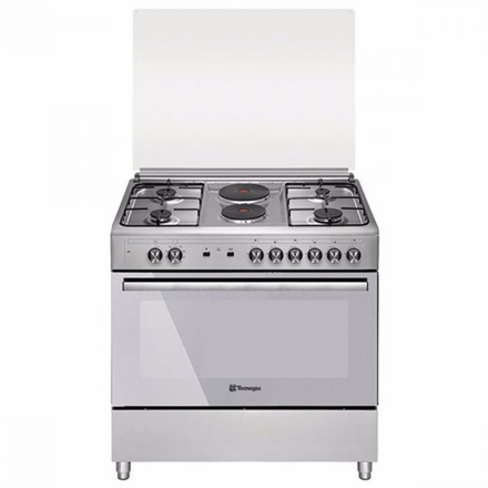 Tecnogas TFG9242CRVSS 90cm Range, 4 Gas Burners + 2 Fast Heating Electric Plates │ Gas Oven + Gas Grill │ Rotisserie の画像