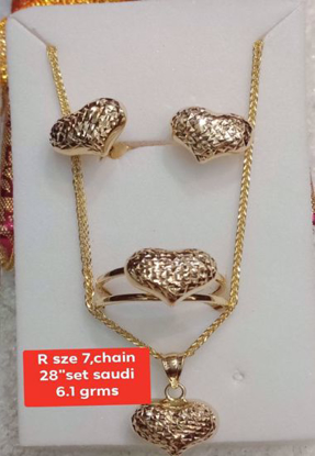 "Picture of 18K Saudi Gold Jewelry Set - R_7, Chain:_28"" - 6.1g"