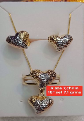 "Picture of 18K Saudi Gold Jewelry Set - R_7, Chain:_28"" - 7.1g"