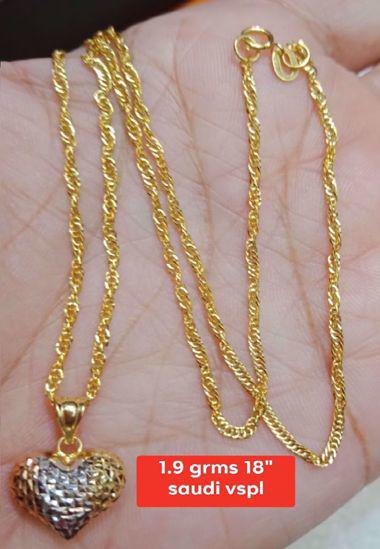 18K - Saudi Gold Jewelry, Necklace w/. Pendant 18K - 1.9g의 그림