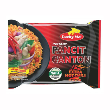 Lucky Me Pancit Canton Extra Hot Chili  Flavor 80g の画像