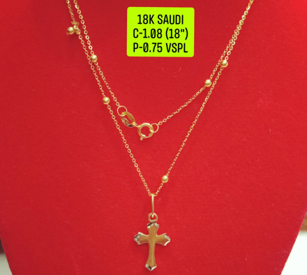 "18K Saudi Gold Necklace with Pendant, Chain 1.08g, Pendant 0.75g, Size 18"", 20723N108075 の画像"