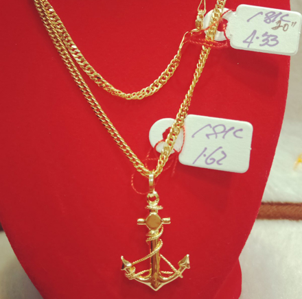 "18K Saudi Gold Necklace with Pendant, Chain 4.43g, Pendant 1.62g, Size 20"", 20723N433162 の画像"