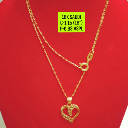 "18K Saudi Gold Necklace with Pendant, Chain 1.15g, Pendant 0.63g, Size 18"", 20723N115063 の画像"