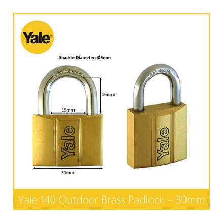 Yale V140.30 KA2, Standard Shackle Brass Padlocks 140 Series Key Alike 2, V14030KA2의 그림