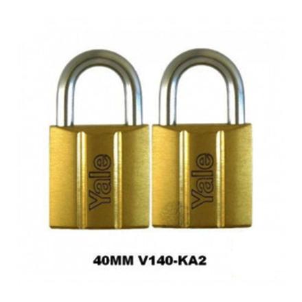 Yale V140.40 KA2, Standard Shackle Brass Padlocks 140 Series Key Alike 2, V14040KA2의 그림