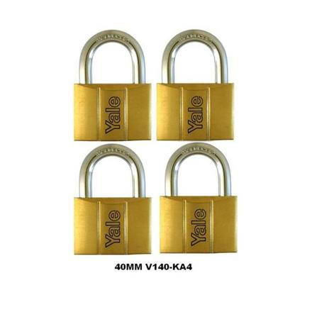 Yale V140.40 KA4, Standard Shackle Brass Padlocks 140 Series Key Alike 4, V14040KA4의 그림