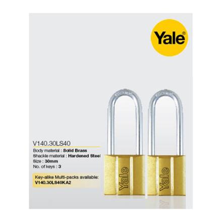 Yale V140.30 LS40 KA2, Long Shackle Brass Padlocks 140 Series Key Alike 2, V14030LS40의 그림