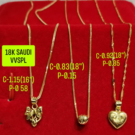 "18K Saudi Gold Necklace with Pendant, Chain 0.83g, Pendant 0.15g, Size 18"", 2805N3 の画像"