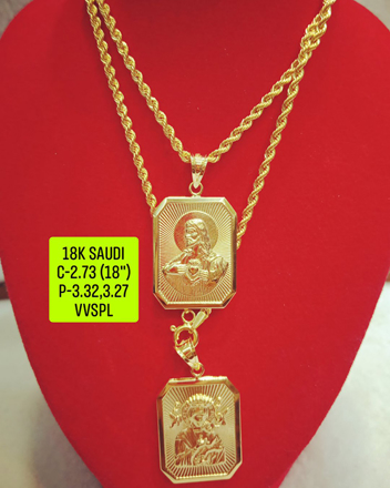"18K Saudi Gold Necklace with Pendant, Chain 2.73g, Pendant 3.27g, 3.32g, Size 18"", 2805N27 の画像"