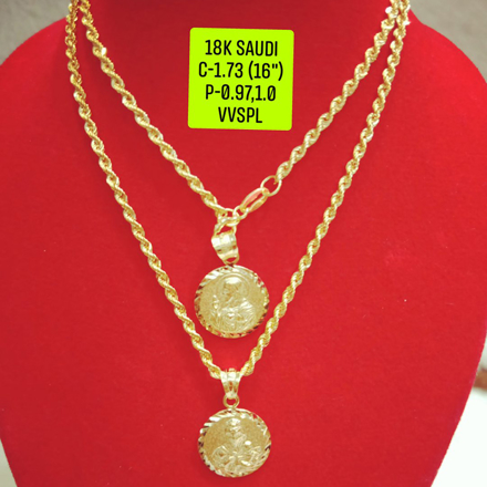 "18K Saudi Gold Necklace with Pendant, Chain 1.73g, Pendant 0.97g, 1.0g, Size 16"", 2805N173 の画像"