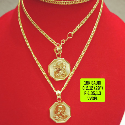 "18K Saudi Gold Necklace with Pendant, Chain 2.73g, Pendant 3.27g, 3.32g, Size 18"", 2805N27 - copy の画像"