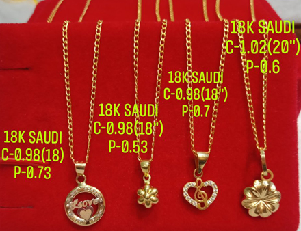 "18K Saudi Gold Necklace with Pendant, Chain 0.98g, Pendant 0.53g, Size 18"", 2805N4 の画像"