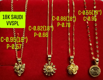 "18K Saudi Gold Necklace with Pendant, Chain 0.82g, Pendant 0.66g, Size 18"", 2805N4F の画像"