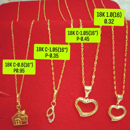 "18K Saudi Gold Necklace with Pendant, Chain 1.0g, Pendant 0.32g, Size 16"", 2805N4H の画像"