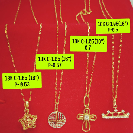 "18K Saudi Gold Necklace with Pendant, Chain 1.05g, Pendant 0.5g, Size 16"", 2805N4S1 の画像"