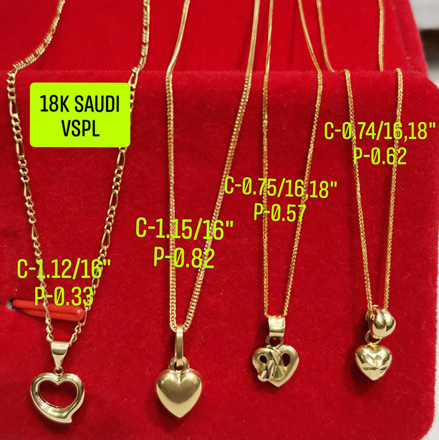 "18K Saudi Gold Necklace with Pendant, Chain 0.75g, Pendant 0.57g, Size 18"", 2805NH の画像"