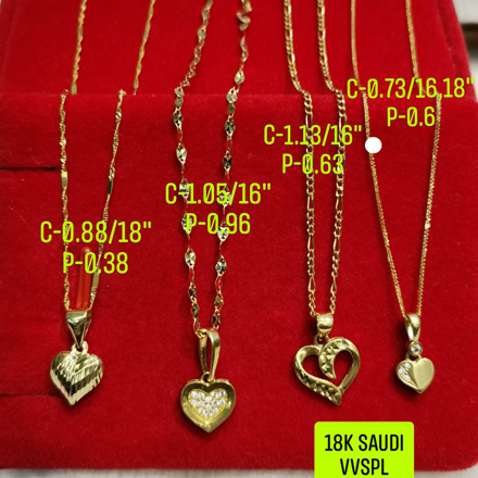 "18K Saudi Gold, Necklace with Pendant, Chain 0.88g, Pendant 0.38g, Size 18"", 2805NH2 の画像"