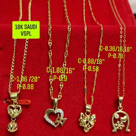 "18K Saudi Gold Necklace with Pendant, Chain 0.36g, Pendant 0.78g, Size 16"", 18"", 2805NHHRH の画像"