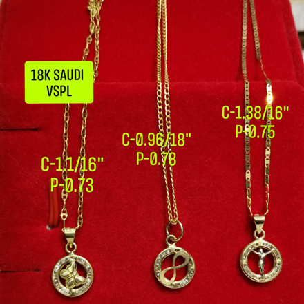 "18K Saudi Gold Necklace with Pendant, Chain 0.96g, Pendant 0.78g, Size 18"", 2805UP の画像"