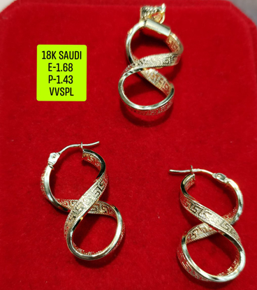 Picture of 18K Saudi Gold Jewelry Set, Earring 1.68g, Pendant 1.43g, 2805EP