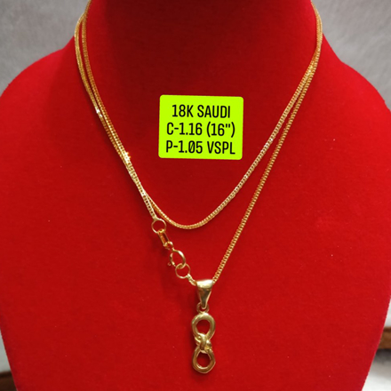 "18K Saudi Gold Necklace with Pendant, Chain 1.16g, Pendant 1.05g, Size 16"", 2805N116 の画像"