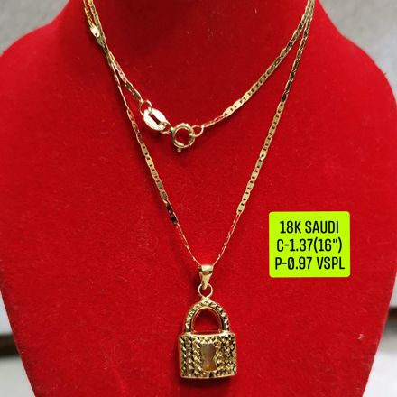 "18K Saudi Gold Necklace with Pendant, Chain 1.37g, Pendant 0.97g, Size 16"", 2805N137의 그림"
