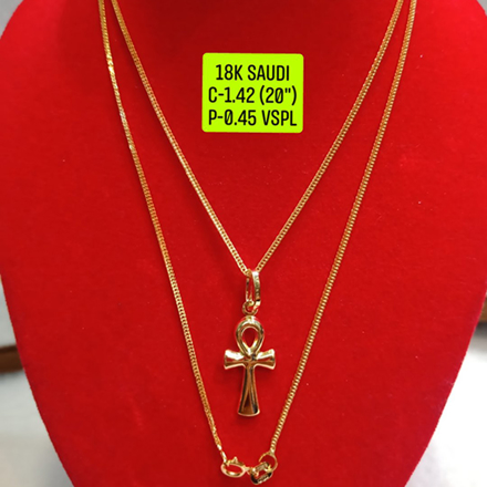 "18K Saudi Gold Necklace with Pendant, Chain 1.42g, Pendant 0.45g, Size 20"", 2805N142 の画像"