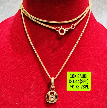 """Picture of 18K Saudi Gold Necklace with Pendant, Chain 1.44g, Pendant 0.72g, Size 20"""", 2805N144"""