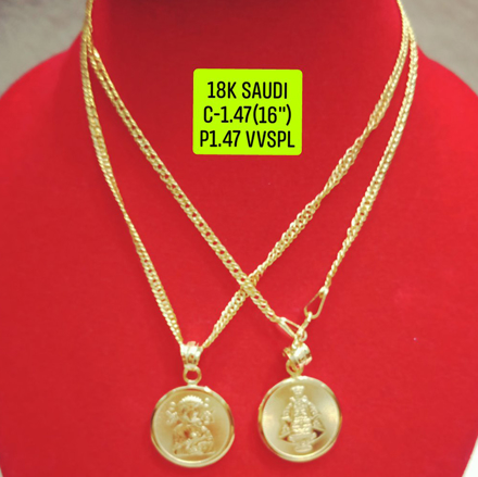 "18K Saudi Gold Necklace with Pendant, Chain 1.47g, Pendant 1.47g, Size 16"", 2805N147 の画像"