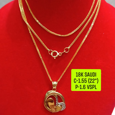 "18K Saudi Gold Necklace with Pendant, Chain 1.55g, Pendant 1.6g, Size 22"", 2805N155 の画像"