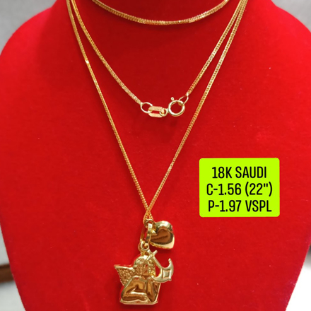 "18K Saudi Gold Necklace with Pendant, Chain 1.56g, Pendant 1.97g, Size 22"", 2805N156의 그림"