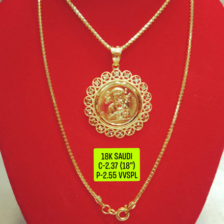 "18K Saudi Gold Necklace with Pendant, Chain 2.37g, Pendant 2.55g, Size 18"", 2805N237 の画像"