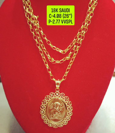 "18K Saudi Gold Necklace with Pendant, Chain 4.08g, Pendant 2.77g, Size 26"", 2805N408의 그림"