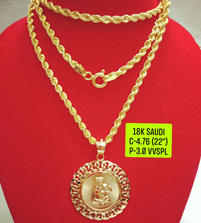 "18K Saudi Gold Necklace with Pendant, Chain 4.76g, Pendant 3.0g, Size 22"", 2805N476 の画像"