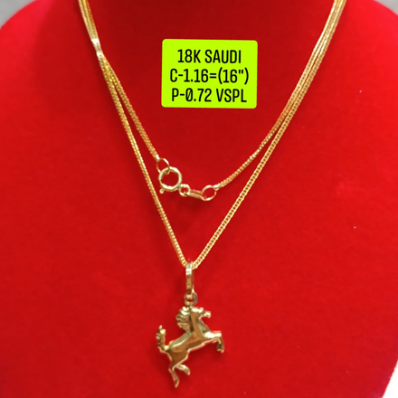 "18K Saudi Gold Necklace with Pendant, Chain 1.16g, Pendant 0.72g, Size 16"", 2805N1160의 그림"