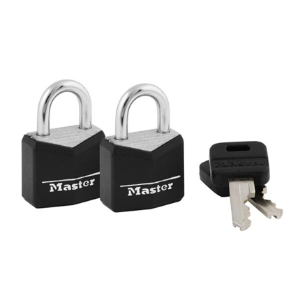 Master Lock Brass 19MM with 11MM Shackle, 2 PIieces Key-Alike Padlock, MSP121TBLK の画像