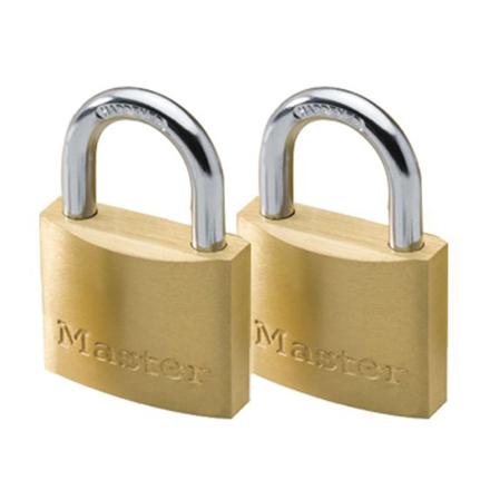 Master Lock 50MM Hard Steel Shackle, 2 Pieces Key-Alike Brass Padlock, MSP1903T의 그림