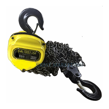 S-Ks Tools USA 2T Heavy Duty 2 Tons Chain Block (Yellow/Black), 2T の画像
