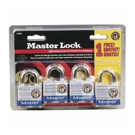 Master Lock Laminated Steel Padlocks (Zinc Body) 4pcs, 3008D の画像