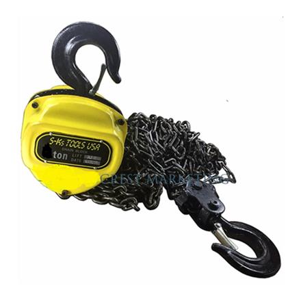 S-Ks Tools USA Heavy Duty 5 Tons Chain Block (Yellow/Black), 5T の画像