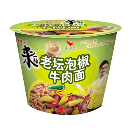 Tongyi Yi Chili Pickle Flavor Noodles, Instant Bowl Beef Noodle の画像