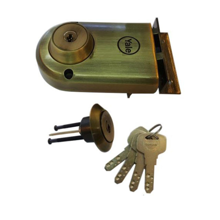Yale Vertibolt Double Cylinder Dimple Key Antique Brass and Satin Nickel, YLHVB100DCDKBAB の画像