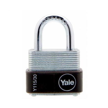 Yale Padlock Laminated Steel Zinc 30mm 18mm Shackle, YLHY115/30/117/1 の画像