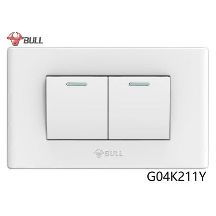 Bull 2 Gang 1 Way Switch Set (White), G04K211Y の画像